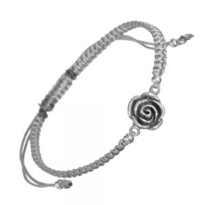 Sterling Silver Jewellery: Adjustable Grey Cord Drawstring Bracelet with Rose Design