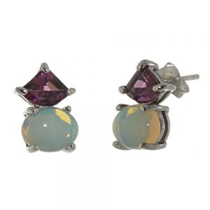 Elegant Sterling Silver Jewellery: Beautiful Earrings with Dark Pink Rhodolite and Rainbow Moonstone Gems