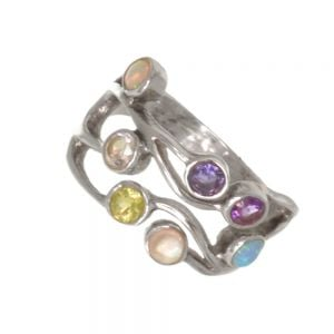 Pretty Sterling Silver Ring with Opal, Peridot, Aquamarine, Topaz, Amethyst, and Moonstone Gems (SR48)