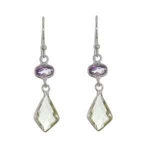 Stunning Sterling Silver Jewellery: Geometric Earrings with Purple and Green Amethyst Faceted Gemstones