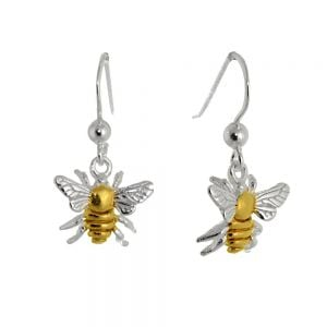 sterling Silver and Gold Bumblebees drop earrings rueb jewellers york Sterling Silver Jewellery: Silver and Gold 13mm Wide Honeybee Drop Earrings (E757)