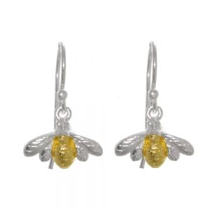 sterling Silver and Gold Bumblebees drop earrings rueb jewellers york