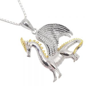 Amazing Sterling Silver Jewellery: Silver and Gold Detailed Dragon Pendant