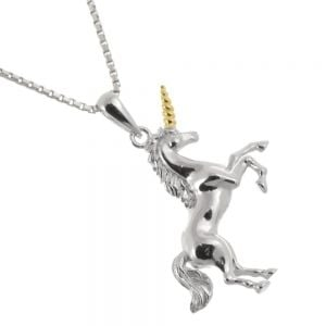 Amazing Sterling Silver Jewellery: 26mm Magical Silver and Gold Detailed Unicorn Pendant