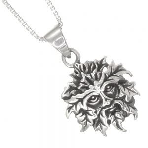 Sterling Silver Jewellery: Oxidised Green Man Pendant with Celtic Knotwork Outline (17mm Diameter) (N46)
