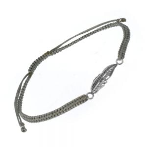 Sterling Silver Jewellery: Grey Cord and Leaf Bracelet