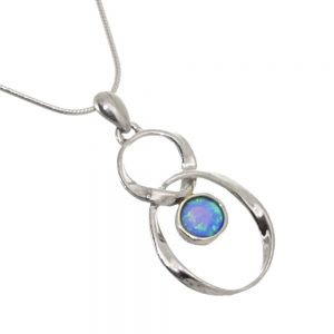 Aviv Sterling Silver Jewellery: Infinity Design Opal Necklace