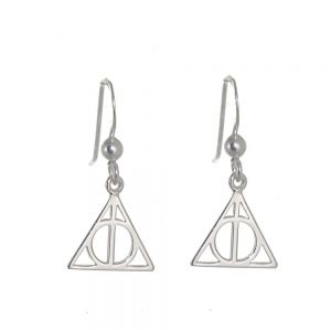 Magical Sterling Silver Jewellery: Cool Geometric Triangle Design Drop Earrings harry potter deathly hallows