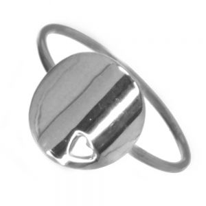 Delicate Sterling Silver Ring with Circle and Cut-Out Heart (SR28)
