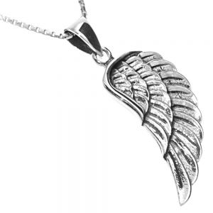 NEW Sterling Silver Jewellery: Beautiful Single Angel Wing Pendant (10mm x 32mm incl Bale)