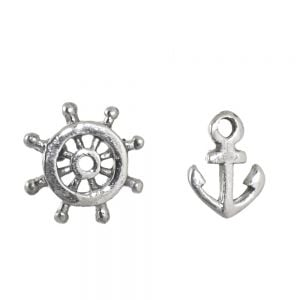 NEW Sterling Silver Jewellery: Asymmetric Ship Wheel and Anchor Earrings