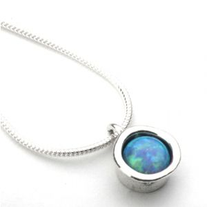 Sterling Silver Aviv Round Opal Necklace