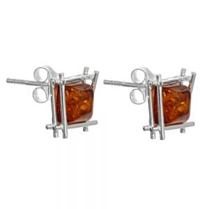 Sterling Silver Amber Simple round Drop Earrings 15 mm long