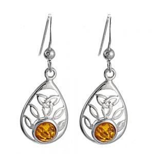 Sterling Silver Amber Teardrop Earrings