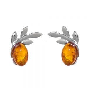 Sterling Silver: Delicate Baltic Amber Stud Earrings with an Olive Branch Design, approx 10 mm