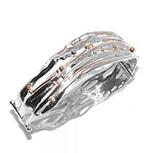Banyan Sterling Silver Jewellery: Hinged Bangle Set With Brass Organic Details