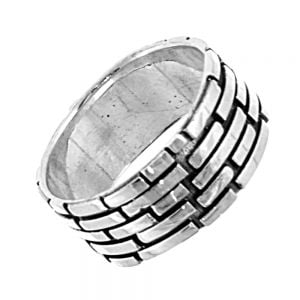 Sterling Silver Jewellery: Chunky Ring with Textured Brickwork Pattern