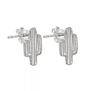 NEW Quirky Sterling Silver Jewellery: Small Cactus Stud Earrings (8mm x 13mm)