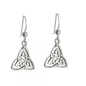 NEW Sterling Silver Jewellery: 13mm Triangle Drop Earrings with Celtic Knotwork Triquetra Design