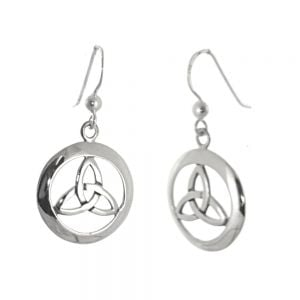 Celtic Sterling Silver Jewellery: 7mm Circle Drop Earrings with Triquetra Design