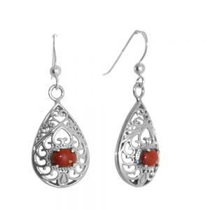 Beautiful Sterling Silver Jewellery: Swirly Filigree Teardrops with Reconstructed Red Coral Stones