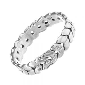 Sterling Silver Jewellery: Statement Band Ring with Adorable Repeated Leaf Motif