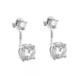 Sterling Silver Jewellery: Crystal Drop Earrings with Behind the Ear Fastening