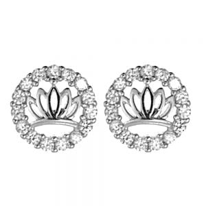 NEW Sterling Silver Jewellery: Crystal Lotus in Circle Stud Earrings (8mm Diameter)