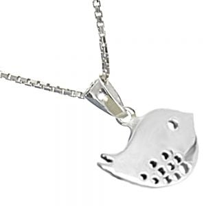 Whimsical Sterling Silver Jewellery: Cute Speckled Bird Pendant
