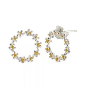 Gorgeous Sterling Silver Jewellery: Silver and Gold Daisy Chain Circle Stud Earrings