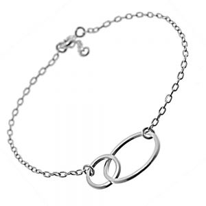 Sterling Silver Jewellery: Fine Chain Bracelet With Linked Circle Design