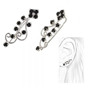 Fabulous Sterling Silver Jewellery: Swirly Design BLACK Crystal Detailed Ear Pins / Crawler