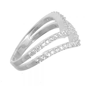 Sterling Silver Jewellery: Sparkly Double Chevron Statement Ring