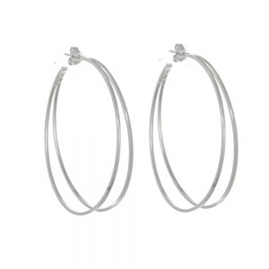 NEW Sterling Silver Jewellery: Large Double Hoop Earrings with Stud Fastening