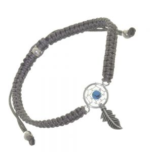 Sterling Silver Jewellery: Adjustable Cord Drawstring Bracelet with Turquoise Detailed Dreamcatcher