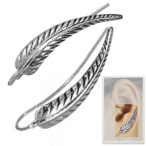 NEW Statement Sterling Silver Jewellery: Oxidised Detailed Feather Ear Pins
