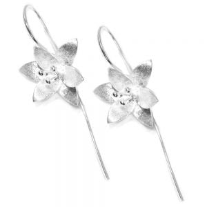 Long Hooked Sterling Silver Daffodil Drop Earrings