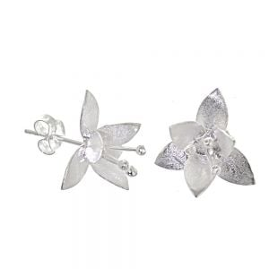 NEW Sterling Silver Jewellery: Matt Silver Daffodil Stud Earrings