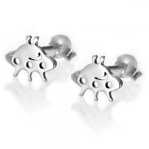 Quirky Sterling Silver Jewellery: Small Alien Spaceship or flying saucer Stud Earrings