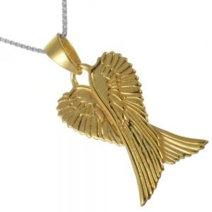 Gold-Plated Sterling Silver Jewellery: Gold Crossed Angel Wings Pendant