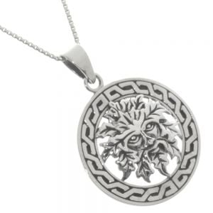 Sterling Silver Jewellery: Oxidsed Green man Pendant with Celtic Knotwork Outline