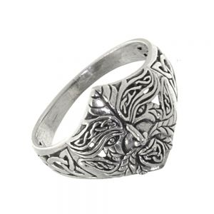 Sterling Silver Jewellery: Traditional Celtic Statement Ring with 'Green Man' Design