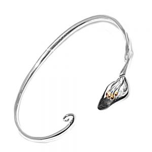 Mixed Metal Flower Bangle sterling silver york