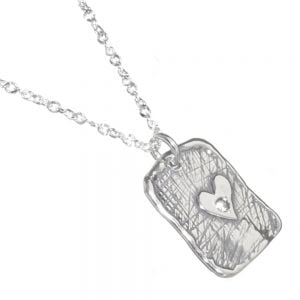 Gorgeous Sterling Silver Jewellery: Delicate Chain with Scratched Oblong Pendant with Heart and Tiny Clear Crystal Dot