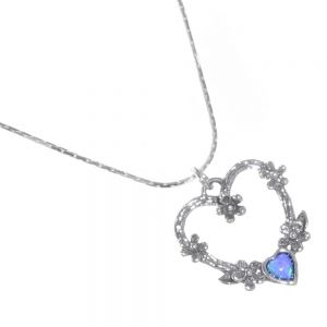 Stunning Sterling Silver Jewellery: Delicate Chain with Floral Heart Design and Tiny Blue Opal Heart Pendant