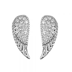 Sterling Silver Jewellery: Crystal-Embellished Angel Wing Stud Earrings