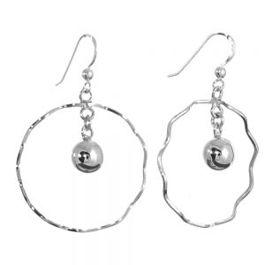 NEW Sterling Silver Jewellery: Wavy 31mm Circle Earrings with Dangly Beads
