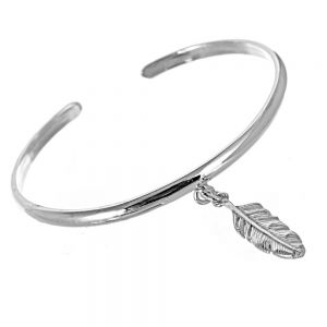 Sterling Silver Jewellery: Open Cuff With Feather Charm