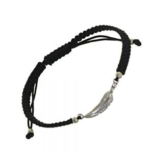Sterling Silver Jewellery: Adjustable Black Cord Drawstring Bracelet with Silver Feather