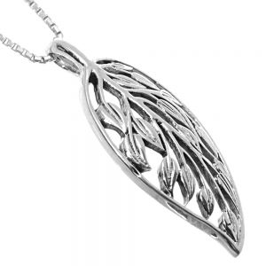 NEW Statement Sterling Silver Jewellery: Large Skeleton Leaf with Leafy Vine Design (16mm x 34mm) (N403)